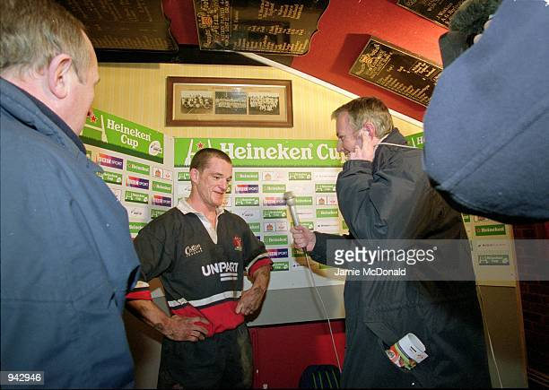 Elton Moncrieff of Gloucester talks to the press about his drop goal which won the match after the Heineken Cup Pool 5 match against Llanelli played...