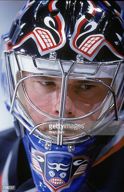 Goaltender Felix Potvin of the Vancouver Canucks looks on during the game against the Colorado Avalanche at the Pepsi Center in Denver Colorado The...