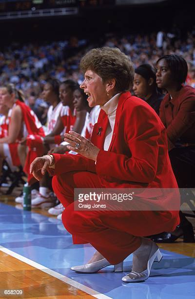 Head Coach Kay Yow of the North Carolina State Wolfpack watches from the sidelines during the game against the North Carolina Tar Heels at the Dean...