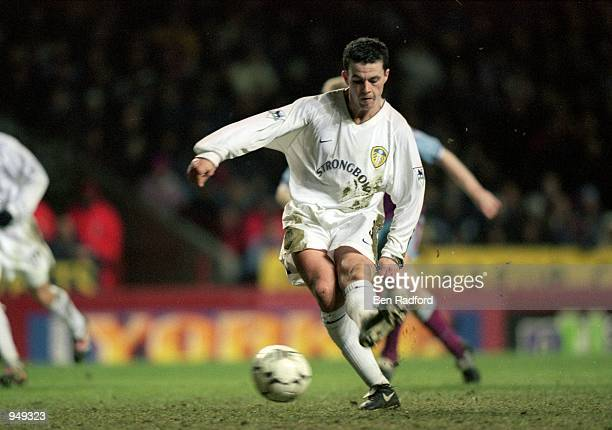 Ian Harte of Leeds United scores from the penalty spot during the FA Carling Premiership match against Aston Villa played at Villa Park in Birmingham...