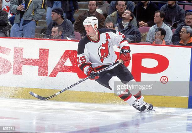Jason Arnott of the New Jersey Devils skates on the ice during the game against the Philadelphia Flyers at the Continental Airlines Arena in East...