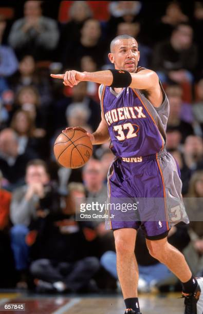 Jason Kidd of the Phoenix Suns calls out to his teammates during the game against the Seattle SuperSonics at the Key Arena in Seattle Washington The...