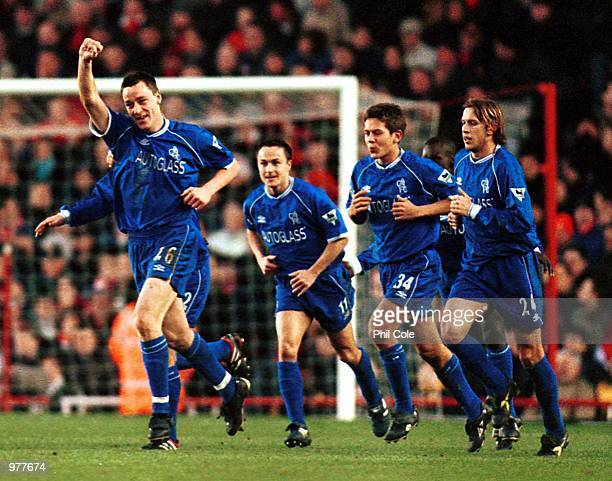 Jon Terry of Chelsea celebrates scoring the first goal for Chelsea during the FA Carling Premiership game between Arsenal v Chelsea at Highbury,...