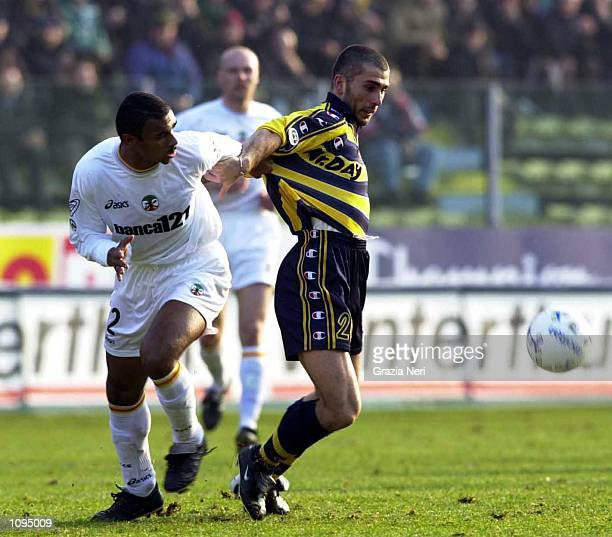 Juarez of Lecce and Marco Di Vaio of Parma during a Serie A 15th Round League match between Parma and Lecce played at the Ennio Tardini Stadium Parma...
