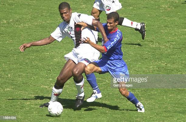 Junior Baiano of Vasco De Gama and Cesar of Sao Caetano challenge for the ball during the Brazilian National Cup Final the Jose Havelange Cup between...