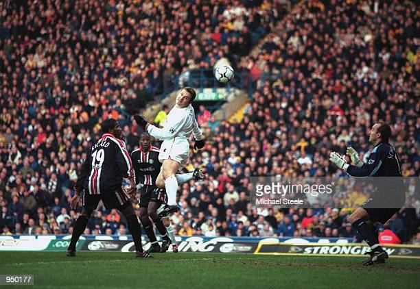 Mark Viduka of Leeds United gets involved in the action during the FA Carling Premiership match against Middlesbrough played at Elland Road in Leeds...