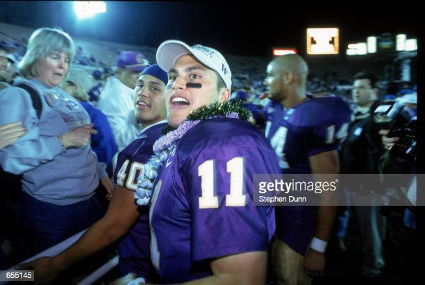 Marques Tuiasosopo of the Washington Huskies celebrates after the Rose Bowl Game against the Purdue Boilermakers at the Rose Bowl in Pasadena...