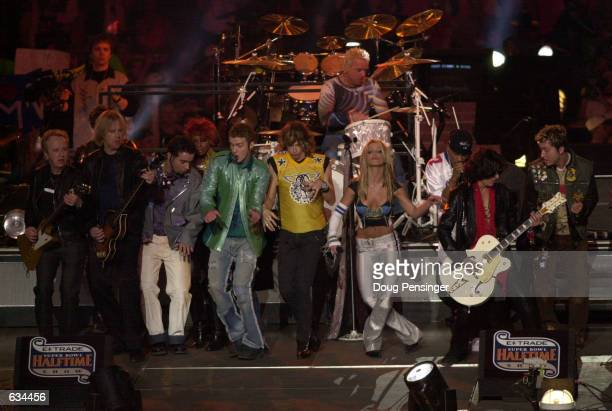 ''NSYNC Aerosmith and Britney Spears all perform during halftime at Super Bowl XXXV between the Baltimore Ravens and New York Giants at Raymond James...