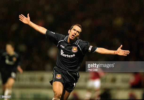 Paolo Di Canio of West Ham celebrates his equalising goal during the FA Carling Premiership match against Charlton Athletic played at The Valley in...