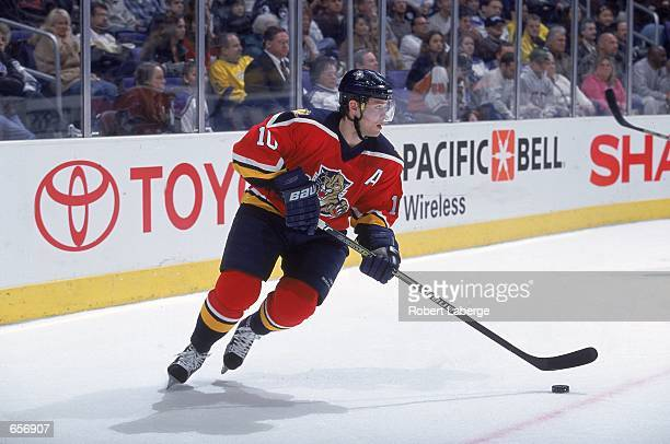 Pavel Bure of the Florida Pathers moves with the puck during the game against the Los Angeles Kings at the STAPLES Center in Los Angeles California...