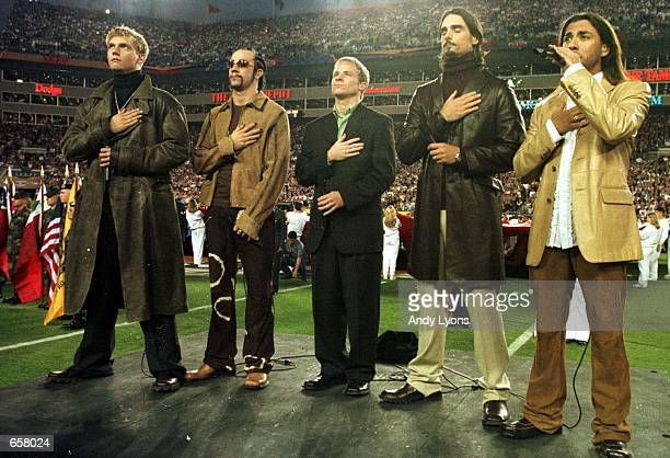 Pop group The Backstreet Boys perform the Star Spangled Banner before the start of Super Bowl XXXV between the Baltimore Ravens and the New York...