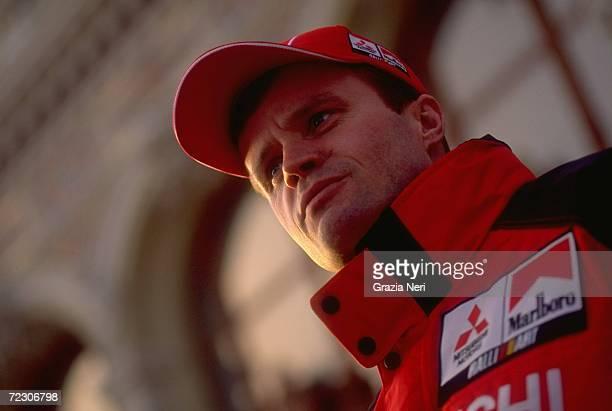 Portrait of Tommi Makinen of Finland driving the Mitsubishi Lancer EVO VI WRC during the FIA World Rally Championships Monte Carlo Rally in Monte...