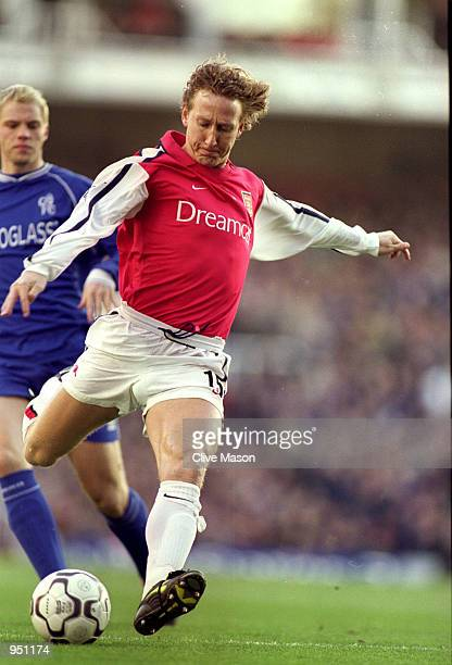 Ray Parlour of Arsenal has a shot during the FA Carling Premiership match against Chelsea played at Highbury in London The match ended in a 11 draw...