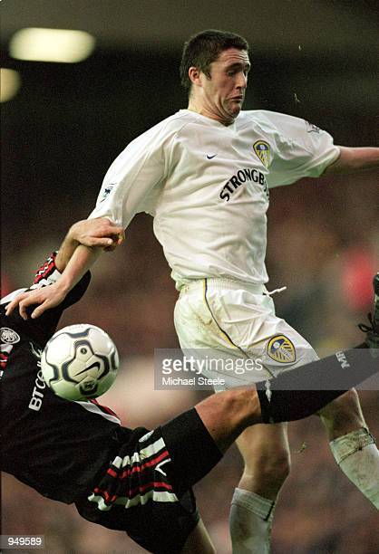 Robbie Keane of Leeds United wins the tussle with a Middlesbrough defender during the FA Carling Premiership match played at Elland Road in Leeds...