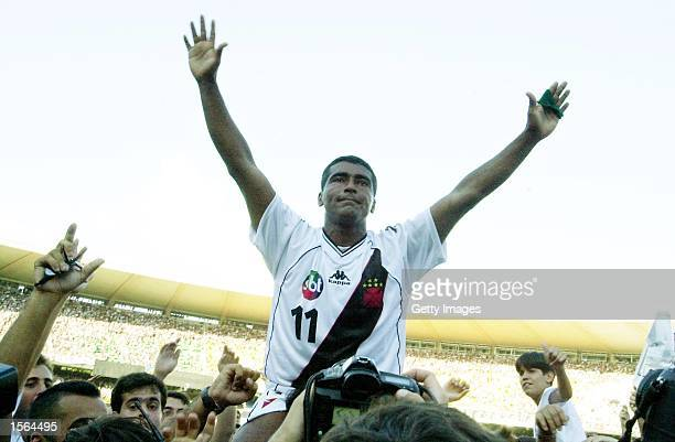 Romario of Vasco De Gama celebrates after winning the Brazilian National Cup Final the Jose Havelange Cup between Vasco De Gama and Sao Caetano...