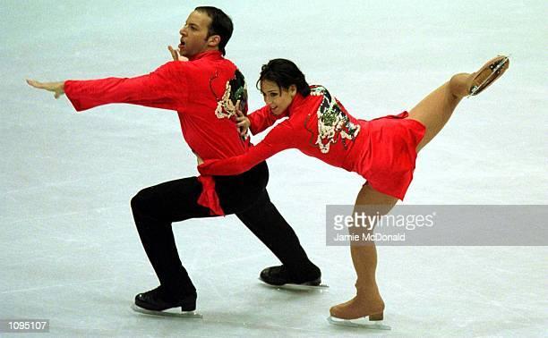 Sarah Abitbol and Stephane Bernadis of France during the Pairs Short Programme at the European Figure Skating Championships Bratislava Ice Arena...