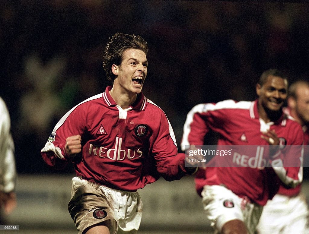 Scott Parker of Charlton Athletic celebrates scoring the winning goal during the FA Carling Premiership match against Derby County played at The Valley, in London. Charlton Athletic won the match 2-1. \ Mandatory Credit: Phil Cole /Allsport