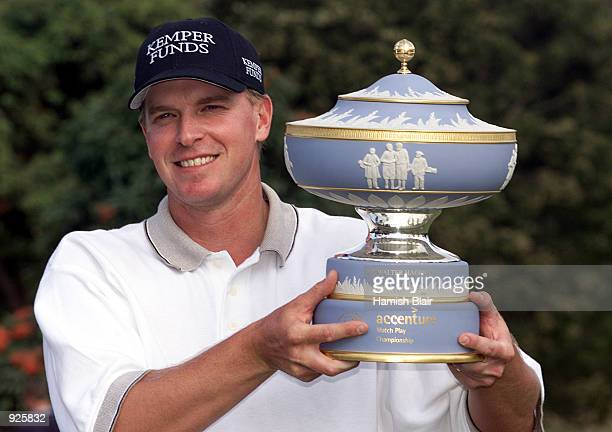 Steve Stricker of the USA with the trophy after defeating Pierre Fulke of Sweden in the championship match 2 1 during the 2001 Accenture Match Play...