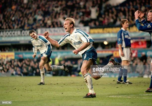 Steve Yates of Tranmere Rovers celebrates a goal during the FA Cup Fourth Round match against Everton at Goodison Park in Liverpool England Yates...