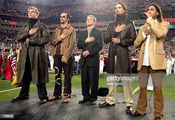 The Backstreet Boys peform the National Anthem before the Super Bowl XXXV Game between the New York Giants and Baltimore Ravens at the Raymond James...