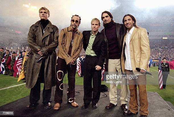 The Backstreet Boys wait to peform the National Anthem before the Super Bowl XXXV Game between the New York Giants and Baltimore Ravens at the...