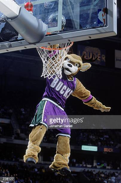 The Milwaukee Bucks mascot makes a slam dunk before the game against the New York Knicks at the Bradley Center in Milwaukee Wisconsin The Bucks...