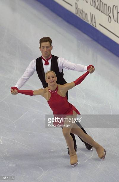 Tiffany Scott and Philip Dulebohn compete in the Pairs Free Skate and captured second place in the Pairs Competition at the 2001 State Farm US Figure...