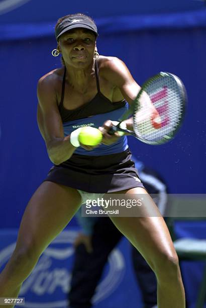 Venus Williams of the USA in action against Meghann Shaughnessy of the USA in the second round of the Australian Open Tennis Championships played at...