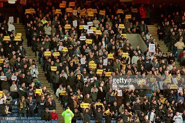 Wimbledon fans stage a sit in demonstration for a return to Merton during the Nationwide League Division One match against Preston North End at...