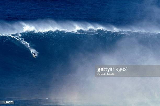 A fiftyfoot wave at the Jaws TowIn World Cup in Pe'' Ahi Maui HawaiiMandatory Credit Donald Miralle/Getty Images