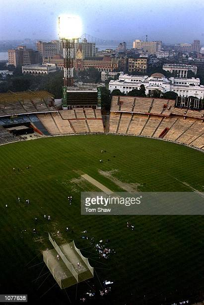 A general view of the ground from the floodlights during the England nets session at Eden Gardens Cricket Stadium Kolkata India DIGITAL IMAGE...