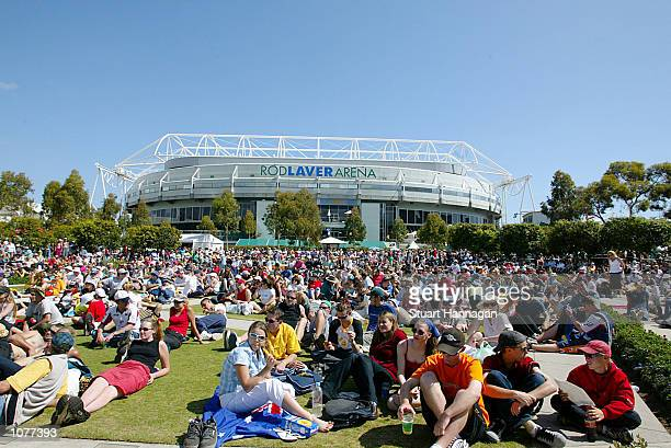 General view outside the Rod Laver Arena Centre Court during the Australian Open 2002 Tennis Championships played at Melbourne Park, Melbourne,...