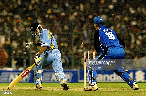 Agit Agarkar of India is stumped by Jamie Foster of England during the 1st India v England One Day International match at Eden Gardens Cricket...