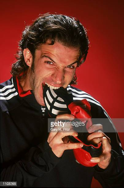 Alessandro Del Piero of Juventus and Italy with the new Adidas Predator Mania football boots during a photoshoot in Oxford England Mandatory Credit...