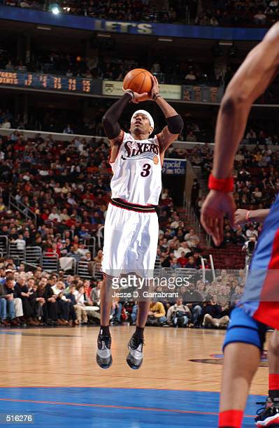 Allen Iverson of the Philadelphia 76ers shoots a jumpshot against the Los Angeles Clippers at the First Union Center Philadelphia Pennsylvania...