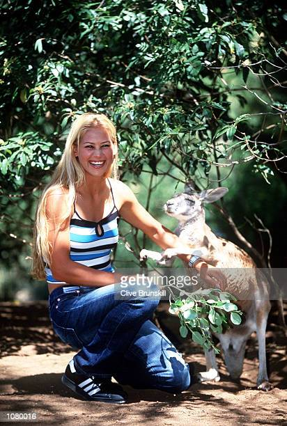 Anna Kournikova of Russia takes a break at Melbourne Zoo during the Australian Open 2002 Tennis Championships at Melbourne Park Melbourne Australia...