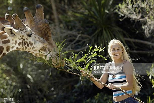 Anna Kournikova of Russia takes a break from Australia Open at the Melbourne Zoo to feed a giraffe, Melbourne Australia. DIGITAL IMAGE Mandatory...