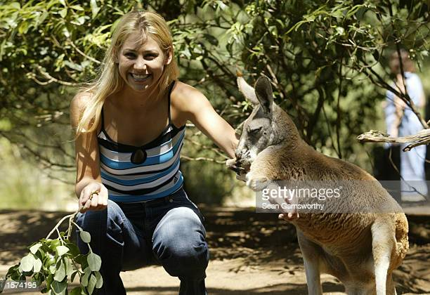 Anna Kournikova of Russia takes a break from Australian Open at the Melbourne Zoo with a Kangaroo Melbourne Australia DIGITAL IMAGE Mandatory Credit...