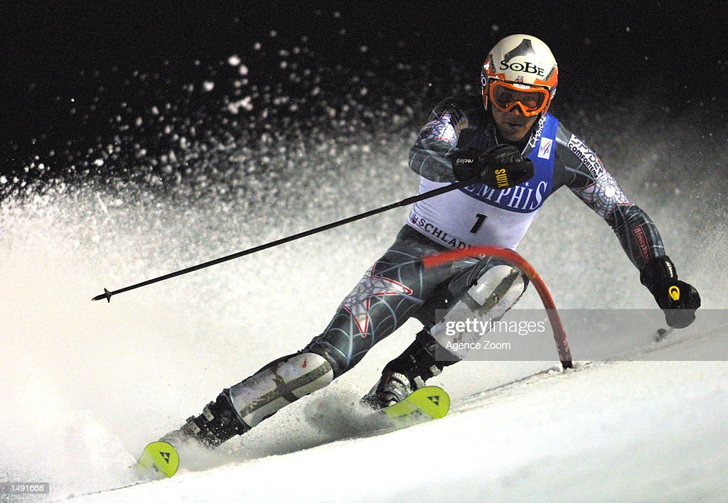 Bode Miller of the USA wins the slalom event during the FIS Ski World Cup in Schladming, Austria. Mandatory Credit: Agence Zoom/Getty Images