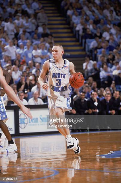 Brian Morrison of the North Carolina Tar Heels dribbles the ball during the ACC Conference basketball game against the Duke Blue Devils at the Dean...