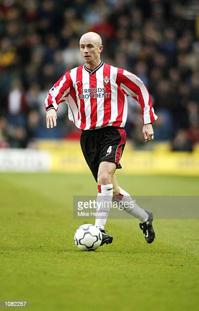 Chris Marsden of Southampton runs with the ball during the FA Barclaycard Premiership match against Manchester United played at the St Mary's Stadium...