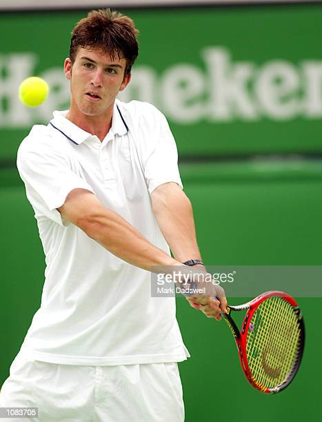 Clement Morel of France in action as he defeats Todd Reid of Australia in the Boys Singles Final during the Australian Open 2002 Tennis Championships...