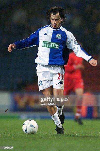 Corrado Grabbi of Blackburn Rovers runs with the ball during the AXA sponsored FA Cup third round replay match against Barnsley played at Ewood Park...