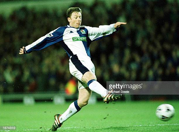 Craig Hignett of Blackburn scores during the match between Blackburn Rovers and Sheffield Wednesday in the Worthington Cup Semi- Final Second Leg at...