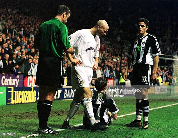 Danny Mills of Leeds is sent off by Graham Barber during the Newcastle United v Leeds United FA Barclaycard Premiership match at St James's Park...