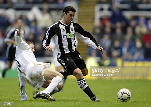 David Batty of Leeds tries to tackle Gary Speed of Newcastle during the Newcastle United v Leeds United FA Barclaycard Premiership match at St...
