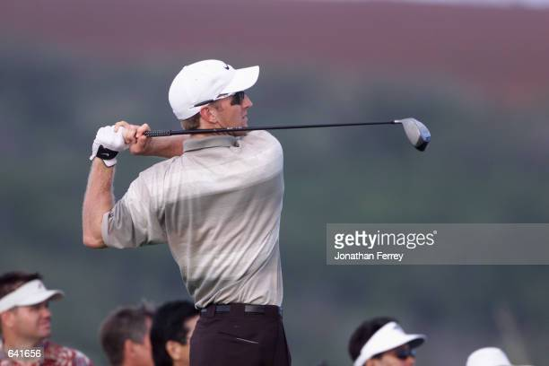 David Duval hits a shot during the second round of the Mercedes Championships on the Plantation Course in Kapalua Hawaii DIGITAL IMAGE Mandatory...