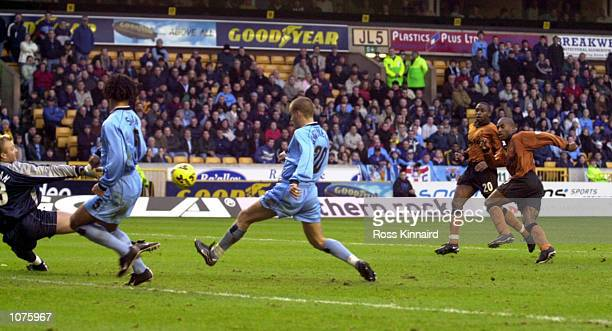 Dean Sturridge of Wolves scores his first goal during the match between Wolverhampton Wanderers and Coventry City in the Nationwide Division One at...
