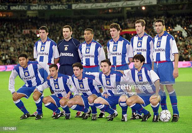 Deportivo La Coruna team group before the Spanish Primera Liga match against Real Madrid played at the Bernabeu in Madrid Spain Real Madrid won the...