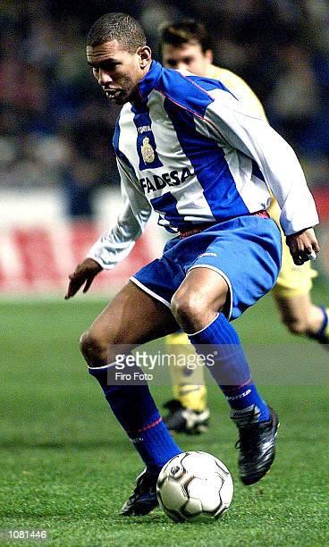Djalminha of Deportivo La Coruna in action during the Primera Liga match between Deportivo La Coruna and Las Palmas played at the Riazor Stadium La...